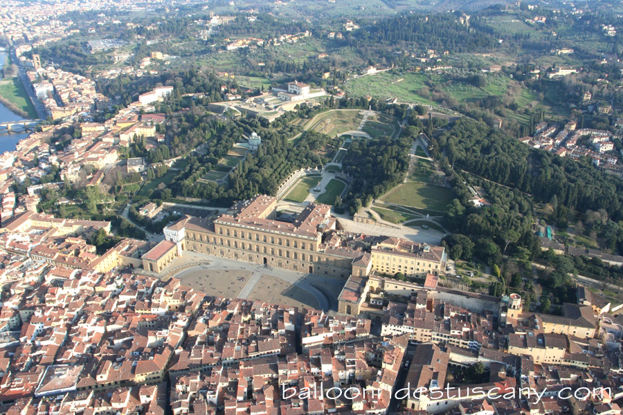 Pitti palace and the Boboli gardens from the balloon