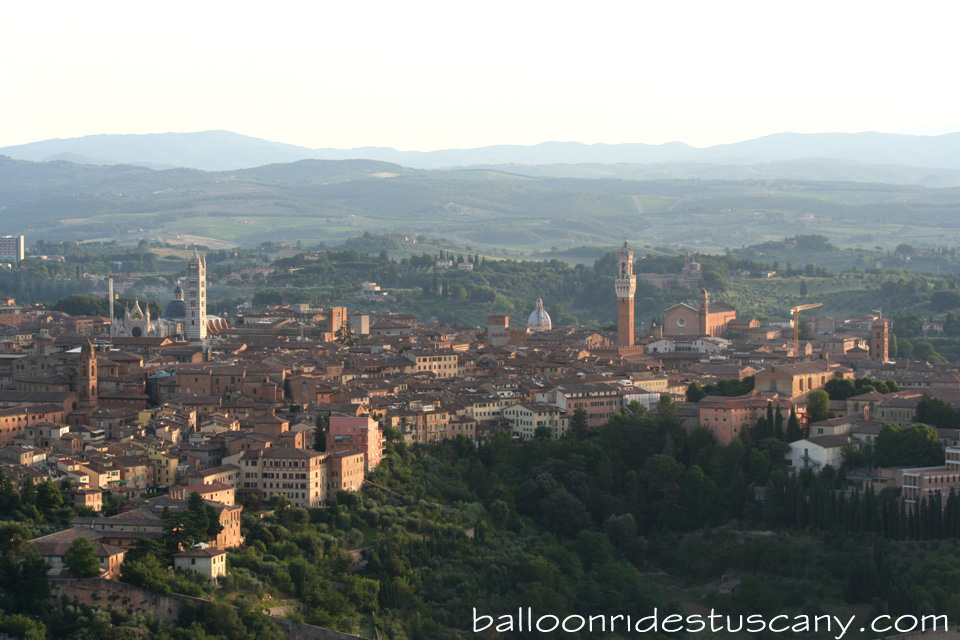Approaching Siena by hot air balloon