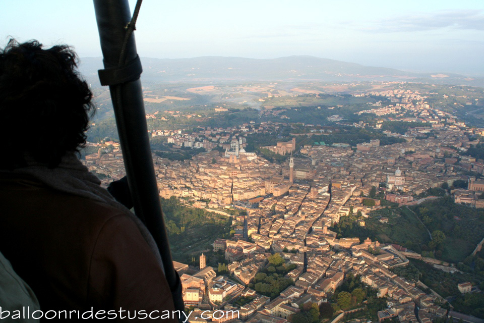 Sunrise over Siena from balloon