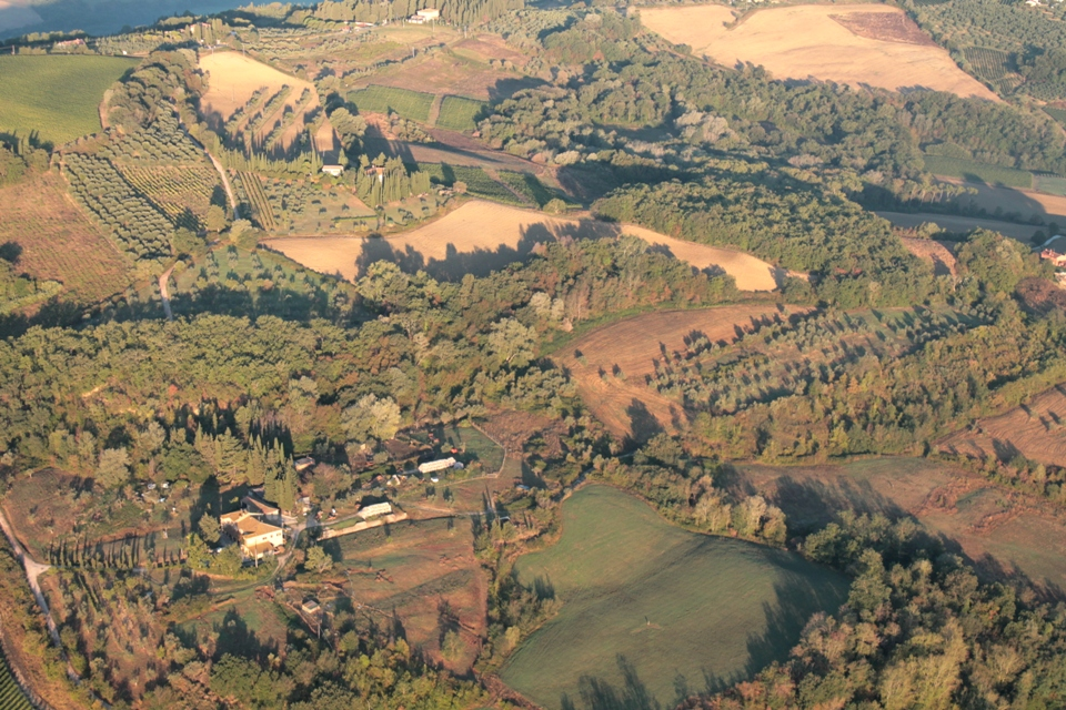 Tuscan farm from the balloon