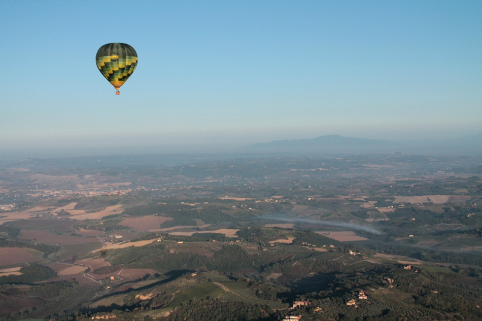 high over the Tuscan countryside