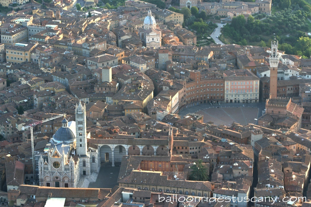 aerial view of Duomo and Piazza del Campo from the hotair balloon