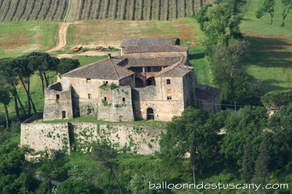 Castel in Castellina Scalo from balloon